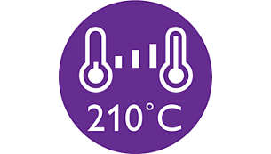 210°C professional temperature for perfect salon results