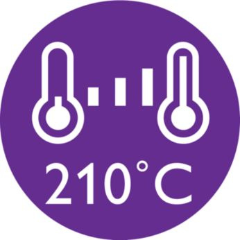 210°C professional temperature for perfect salon results