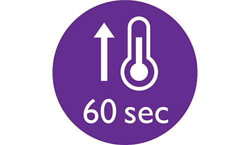 Krótki czas nagrzewania, gotowość do użycia po 60 sekundach