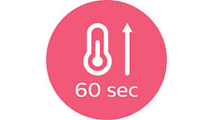 Fast heat up time, ready to use in 60 seconds