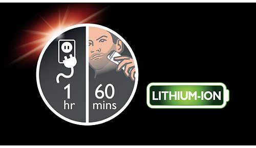 60 minutters ledningsfri brug efter 1 times opladning, eller sæt stikket i