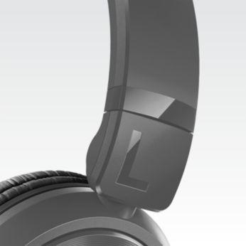 Reguliuojami ausinių kaušeliai ir lankelis puikiai prisitaikys prie jūsų galvos formos