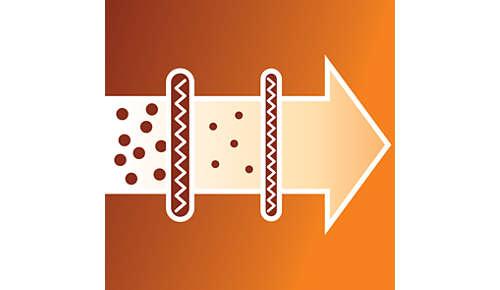 Sistema di filtraggio a 2 stadi per una pulizia ottimale