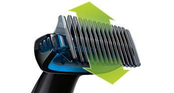 """Trim hair in any direction with the 1/8"""" comb"""
