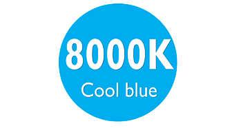 Jasné chladné modré světlo 8000K