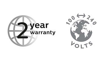 2-year warranty, worldwide voltage and replaceable blades