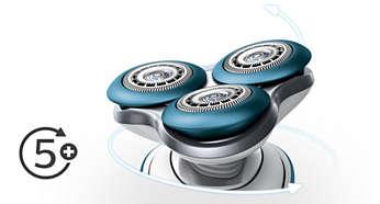 Los cabezales se flexionan fácilmente en cinco direcciones para comodidad adicional