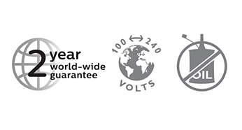 2 year warranty, worldwide voltage, no oil needed