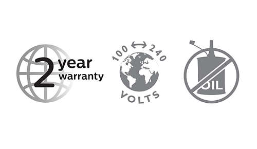 2 year warranty, worldwide voltage, no oil needed