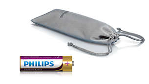 Lithium AA battery and soft pouch included