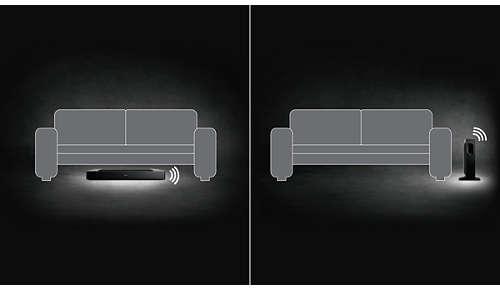 Slanke draadloze subwoofer voor verticale en horizontale plaatsing