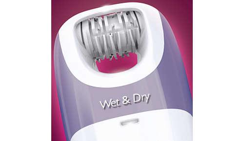 Nass und trocken, auch zur Verwendung unter der Dusche oder beim Baden
