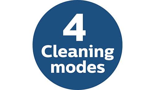 4 rengöringslägen för att anpassa till olika områden