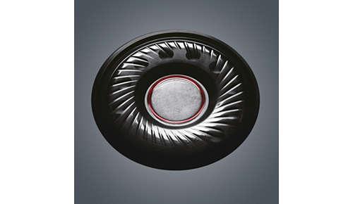40 mm neodymium-drivers zorgen voor een diepe bas en helder geluid