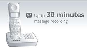 Bis zu 30Minuten Aufnahmezeit für Nachrichten auf Ihrem Anrufbeantworter