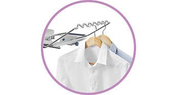 Kleidung nach dem Bügeln direkt aufhängen: Praktische Aufhängevorrichtung