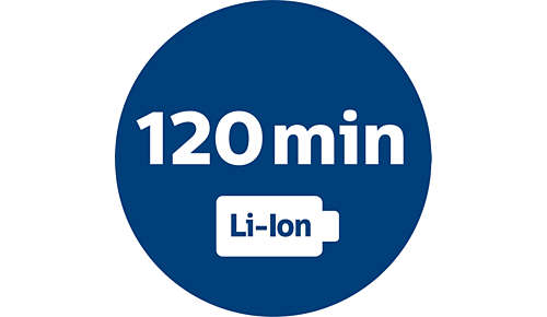 Krachtige li-ionbatterij voor gebruikstijd van 120 min.