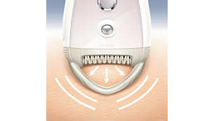 The skin stretcher keeps your skin firm during epilation