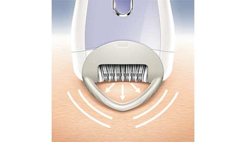 Der Hautstraffer hält Ihre Haut beim Epilieren fest