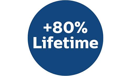 80% más de vida útil que las bolsas para aspiradores tradicionales