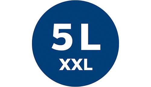 Capacidad XXL de 5l y aspiración extrema incluso al llenarse la bolsa