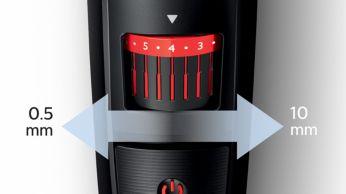 0,5 mm - 10 mm arasında kolay seçilebilir kilitli uzunluk ayarları