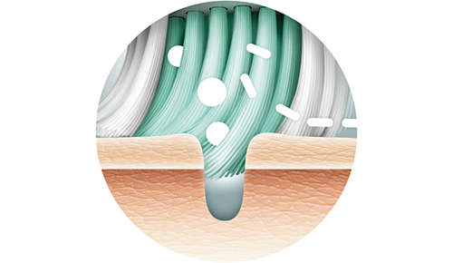 Thin, long bristles to reach pores better than hands alone