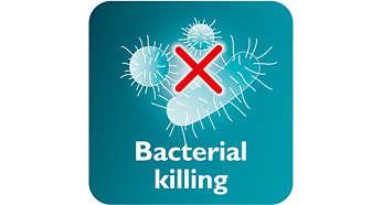 O vapor elimina até 99,9% das bactérias*