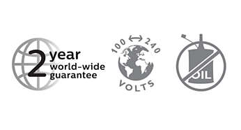 2-year guarantee, worldwide voltage and no need to oil