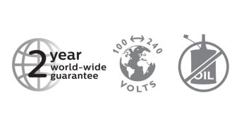 2 year guarantee, worldwide voltage and no need to oil