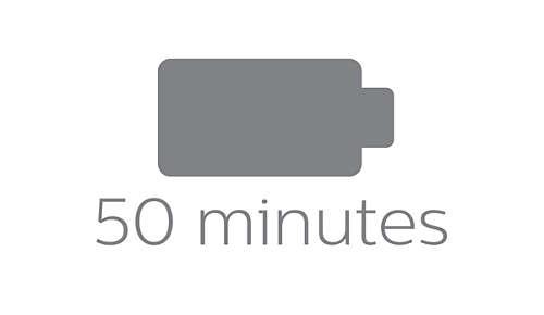 50minutes d'autonomie pour 1h de charge, ou fonctionnement sur secteur