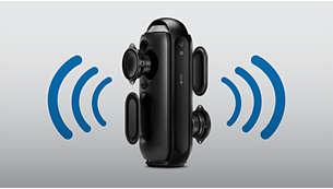 Dwa przetworniki głośnikowe i membrany pasywne zapewniają realistyczny dźwięk