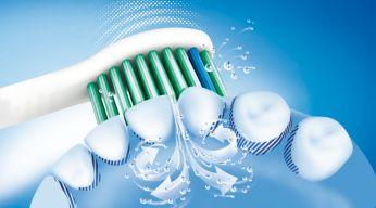 Sonicare 液體清潔動力將液體推向牙齒鄰面
