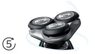 Головки движутся в 5направлениях для быстрого и чистого бритья