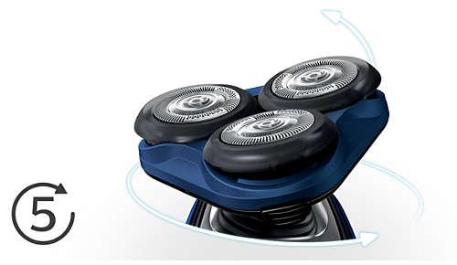 Le testine si flettono in 5 direzioni per una rasatura veloce ed efficace