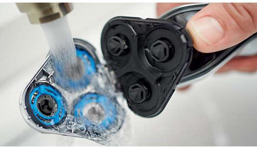 Il rasoio può essere risciacquato sotto l'acqua corrente