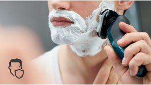Бритвенные головки с закругленными краями легко скользят по коже для безопасного бритья