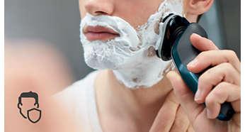 Закръглен профил на главата се плъзга плавно, предпазвайки кожата ви