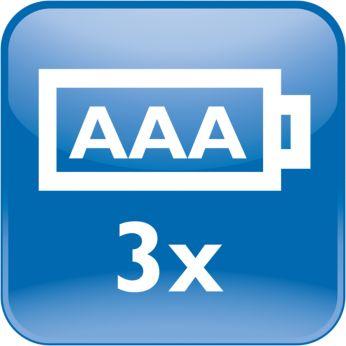 Питание от трех батарей Philips типа AAA