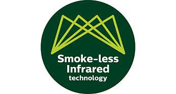 Technologie de chaleur infrarouge sophistiquée créant jusqu'à 80% de fumée en moins
