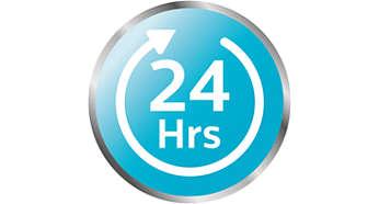 O conteúdo permanece esterilizado por até 24 horas
