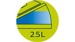 Gran depósito de agua totalmente visible de 2,5l