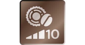 Affinez la richesse du café grâce aux 10niveaux du moulin