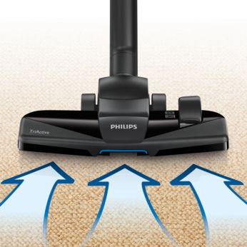 Jauns trīs vienā (3-in-1) TriActive uzgalis savāc rupjus un smalkus putekļus