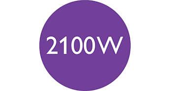 Moc 2100 W zapewnia doskonałe rezultaty i szybkie suszenie