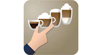 Celá řada kávových specialit pouhým stisknutím tlačítka