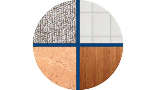 Mindenféle padlótípushoz használható