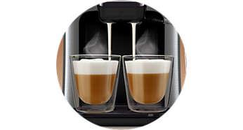 Seule la SENSEO® Latte Duo prépare 1 ou 2boissons lactées à la fois