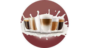 Enjoy 4 coffee and milk recipes at one touch of a button