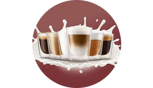 Genießen Sie 4 Kaffee- und Milchrezepte auf Knopfdruck
